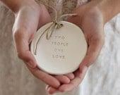 Ring bearer pillow alternative,  Wedding ring bearer Two people one love  Ring dish Ceramic ring bowl