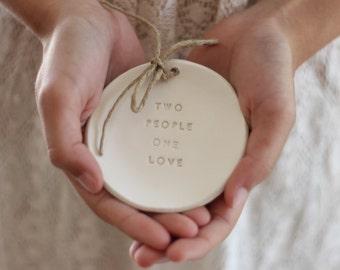 Ring bearer pillow alternative Wedding ring bearer Two people one love  Ring dish Ceramic ring bowl