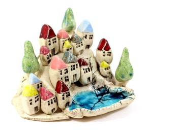 Colorful miniature houses Ceramic houses Ceramic beach cottages  Home decoration