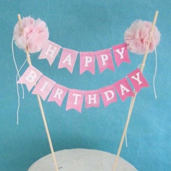 Birthday Cake Banner Pink Ombre Happy Birthday