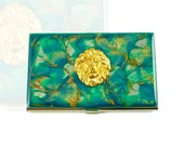 Business Card Case Lion Inlaid in Hand Painted Metal Wallet Turquoise Quartz Inspired Credit Card Holder Enamel Glossy Finish