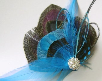 Peacock Feather Hair Fascinator BLACK & TEAL Perfect for a Fall or Winter Bride or Bridesmaids with Rhinestone