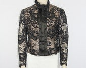 1900s - 1910s Edwardian Vintage Top - Long Sleeve Black Lace Sequins and Satin Jacket Blouse