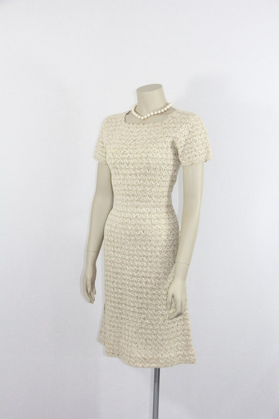 1950s Sweater Dress - Ivory Knit with Ribbon and Gold Flecks Sultry Sweater Dress