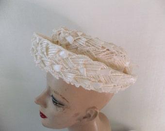 Vintage Hat Cellulose Straw Union Made Cream Off White Retro Accessories Formalwear Wedding Prom