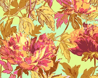 RAYON: Amy Butler Twilight Peony in Saffron-One Yard Cut (rayon, voile, lightweight, summer weight)