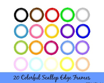Instant Download - 20 Colorful Scallop Edge Frames Clip Art - Commercial Use DS92