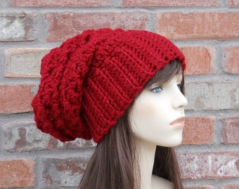 Red Slouchy Beanie Red Hat Crochet Hats for Women Winter Hat Winter Fashion Cranberry Red Slouch Beanie Handmade Crochet Hat Teen Hat