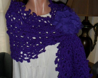 Crocheted Wrap - Scarf - Shawl - Cape with Flower Brooch ''OASIS'' in Amethyst
