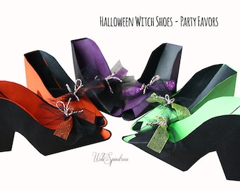 Halloween Witch Shoes - Colorful Halloween Party Favors for Oreos Set of 6 / Lime Green, Orange, Purple, Black