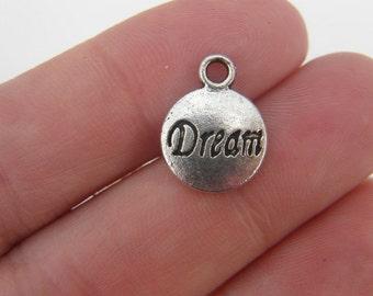 BULK 50   Dream charms antique silver tone M358
