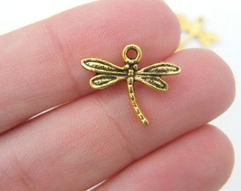 14 Dragonfly charms antique gold tone GC31