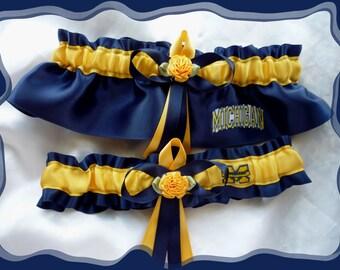 Navy Satin Wedding Garter Set Made with Michigan Wolverines Fabric~~~SALE~~~