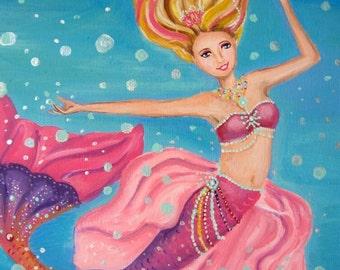 Barbie Mermaid Princess Lumina Art Work Painting from Barbie in the Pearl Princess- on Canvas/Sea Decor
