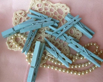 Shabby Chic Very Rustic Clothes Pins in Robins Egg Blue set of 14/Photos /Bills /Banner/Wedding Decor