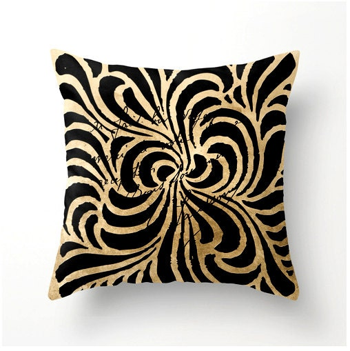 Decorative Throw Pillow swirly lines black and gold square