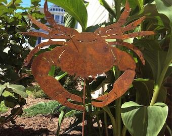 Crab Garden Stake / Wall Art / Hanging / Garden Art / Garden Decor / Rustic Garden Art / Yard Art / Metal / Silhouette / Ornament
