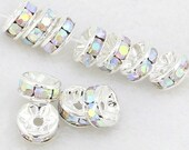40pcs - 8mm silver plated - AB - Rhinestone rondelles - Spacer beads - EXTRA SPARKLY - Top quality