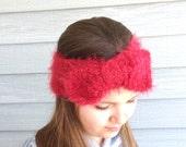 Hand Knit Headband, Ear Warmer, Red Headband, Headwrap, Bow Headband, Girls Headband, Teen Headband,