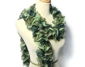 Sale Hand Knit Scarf, Knit Scarf, Ruffle Scarf, Green Scarf, Womens Scarf, Fashion Scarf, Winter, Holiday Scarf