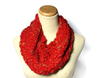 Red Knit Cowl, Hand Knit Cowl, Knit Cowl, Gift Idea for Her, Fashion Accessory, Circular Scarf, Women Accessory, Winter Cowl, Circle Scarf,