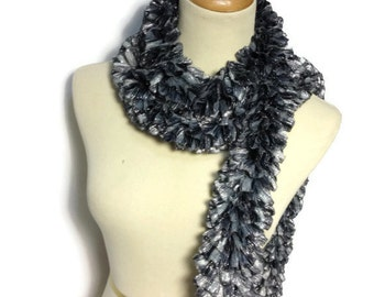 Gray Scarf, Ruffle Scarf, Knit Scarf, Hand Knit Scarf, Fashion Accessory, Womens Scarf, Winter Scarf