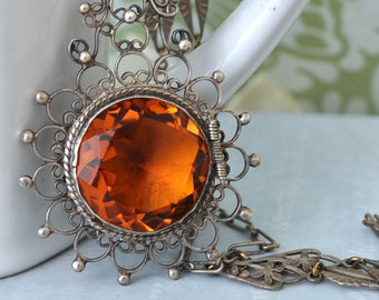 antique sterling silver locket pill box container necklace HONEY TOPAZ  vintage find