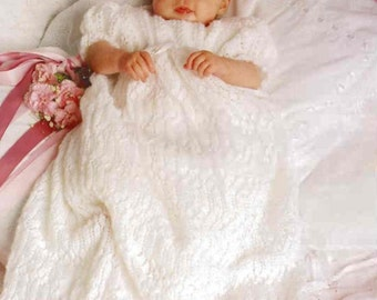 Baby Knitting PATTERN - Bebe Dress and Christening/Blessing Robe 18 inches - 2 ply