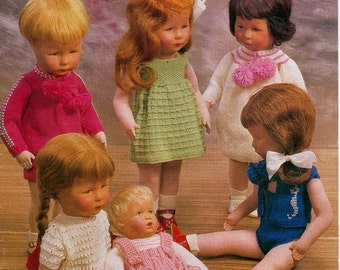 SALE ****Knitting PATTERNS - 12 DESIGNS Dolls clothes 14 and 18 inch dolls e.g. Kathe Kruse dolls