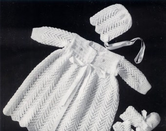 BABY KNITTING PATTERNS -  Baby Booklet  - 3 Matinee Sets plus afghan/blanket Booties Bonnet Dress