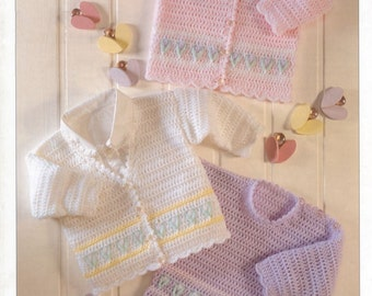 Baby Crochet Pattern  - Worsted/DK/ 8 ply/ Cardigans Jackets Sweater 16-26ins