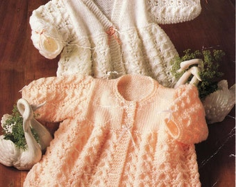 Baby KNITTING PATTERN - V neck and round neck Matinee Jackets/Sweaters/Cardigans 14 to 18 inch chest