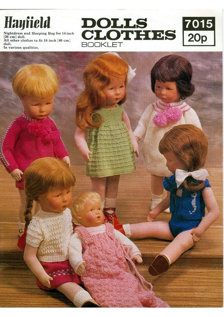 SALE Knitting PATTERNS 12 DESIGNS Dolls clothes 14 and