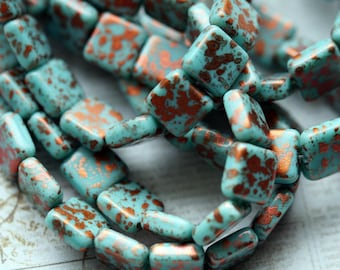 10mm  Turquoise and Copper Square Beads - Premium Czech Glass Beads - Bead Soup Beads - LAST ONE