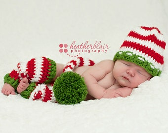Baby boy hat, baby girl hat, crochet christmas outfit, first christmas, photo prop, baby shower gift, leg warmers, stocking cap, christmas