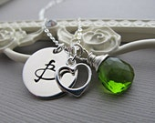 Mother's Necklace, Silver Initial and Birthstone Necklace, Mom Gift, Personalized Necklace, Silver Monogram, Peridot, Custom Birthstone
