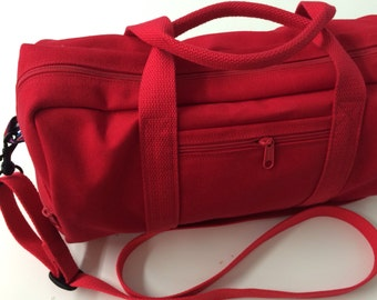 Red Canvas Duffle Bag Cross-Body