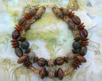 African Necklace Featured in Bead Style Magazine, African Trade Beads, Rustic Natural Beads, Poly Jatim Eye Beads, by SandraDesigns