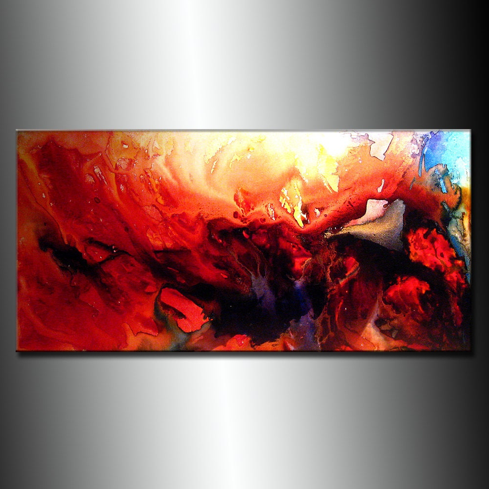 Contemporary abstract painting original by newwaveartgallery for Contemporary mural art