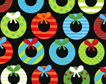 Jingle 2 by Ann Kelle and Robert Kaufman, Holiday Wreaths Bright 1/2 yd total