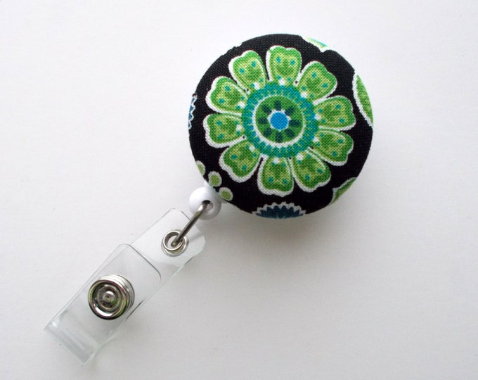Green Flower on Black Fabric - Cute ID Badge Reel - Nurse Badge Holder - Nursing Badge Reel - Retractable ID Badge Reel - Teacher Badge