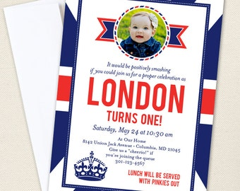 Union Jack Party Photo Invitations - Professionally printed *or* DIY printable