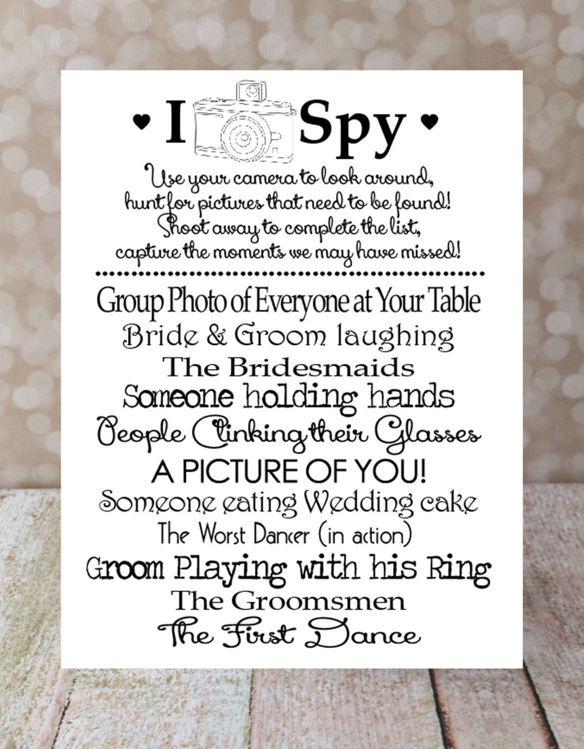 I SPY Wedding Game Instant Download DIY By OurHobbyToYourHome
