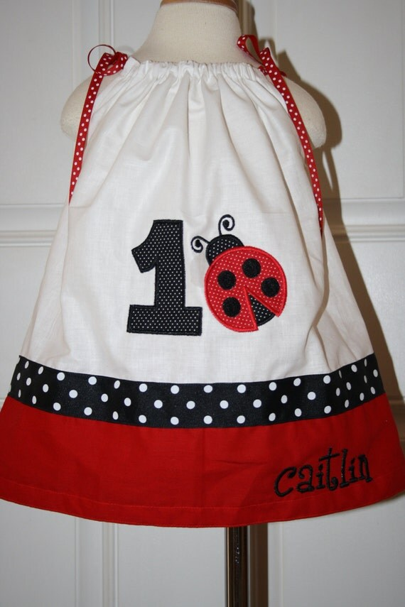 Ladybug Birthday pillowcase dress Personalized and name and age