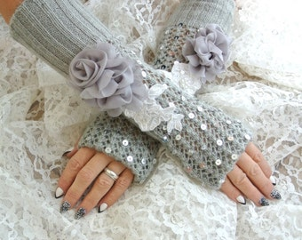 Arm Warmers, Silver sequin gloves, fingerless, Boho, Gray crochet, romantic country, shabby lace Linen Embellished, True Rebel