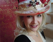 SCARLET LADY, Red Hat, Red Hat Society,  Custom, Flowered hat, Bachelorette, Sexy hat, Party hat, Lingerie, Honeymoon