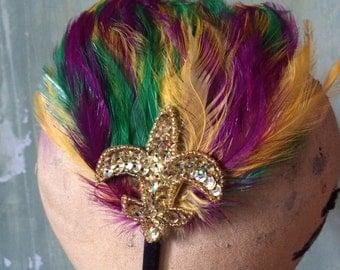 New Orleans Mardi Gras/Carnival Feather Fascinator Headband with Gold Fleur de Lis