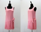 Vintage Dress Flapper Style Bubble Gum Pink Sleeveless 1960s does 1920s