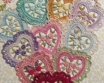 Lace Heart Hand Dyed Venise Applique Embellishment