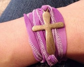 Cross wrap bracelet in purple and gold